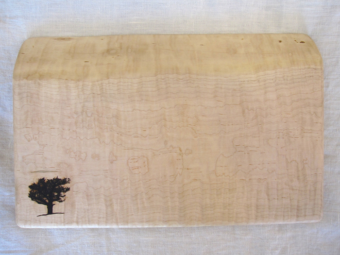 Live edge curly maple cutting board vermont tree goods